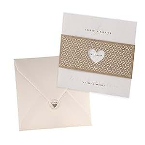 Vintage Einladungskarten Elli Für Die Hochzeit, Kraftpapier Mit  Ausgestanztem Herz   Blanko Hochzeitseinladung Mit Umschlag