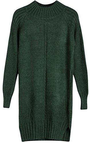 Vogueearth Fashion Hot Donna's Ladies Lungo Manica Twist Knit Jumper Maglieria Sweater Pullover Top Verde