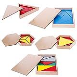 JAGENIE Montessori materiale di legno giocattolo costruttiva triangoli rettangolare Pentagono