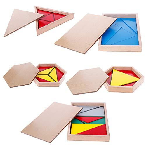 Xuniu Juguete de Madera Montessori, triángulos constructivos, Pentágono Rectangular