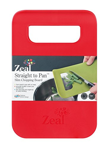 Zeal Straight to pan - Tagliere sottile., plastica, Red, S (21,5 x 14 cm)
