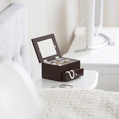Relaxdays Schmuckkästchen mit Fotodeckel HBT 9,5 x 18,5 x 13,5 cm kleiner Schmuckkasten mit Ringfach Schmuckaufbewahrung für Ketten und Ohrringe Schmuckschatulle mit Schubfach und Spiegel, dunkelbraun - 2