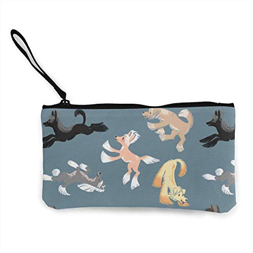 shuangshao liu Women's Canvas Zip Around Wallet Ladies Clutch Travel Purse Wrist Strap Chinese Crested -