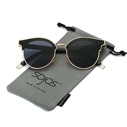 SOJOS Schick Klassische Retro Metallbrücken Runde Verspiegelt Sonnenbrille für Herren und Damen SJ1055 mit Gold Rahmen/Grau Linse