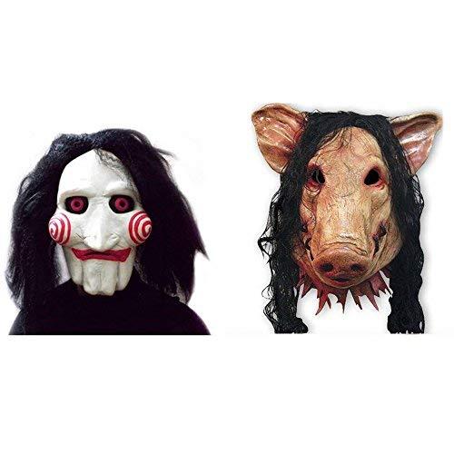 thematys 2X Set Schwein + Jigsaw Saw Maske mit Kunsthaaren - perfekt für Fasching, Karneval & Halloween - Kostüm für Erwachsene - Latex, Unisex Einheitsgröße