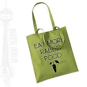 Jutebeutel Stoffbeutel ' Eat more rabbit food '
