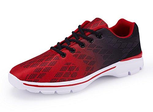 ummaid Herren Tennis Schuhe Casual Leicht Sport Laufschuhe Walking Sneakers, Rot - 43 EU (Tennis Tennis-herren Schuhe)