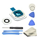 EWPARTS for Samsung galaxy S6 edge Hinter Kamera abdeckung Kamera Objektiv Abdeckung Ringe Glas + Aufklebers + Werkzeuge + Reinigungstuch (weiß)