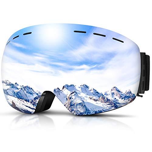 DADA-PRO Skibrille, Herren Damen Snowboardbrille Erwachsene über Gläser OTG rahmenlose für Ski Anti-Fog, UV-Schutz Sonnenbrille (Silber (VLT 23{2a641a09413b27a21d9fe6ce2cb0dc2b410e8f5eefa7b5f6b9550a30d5c902e0}))