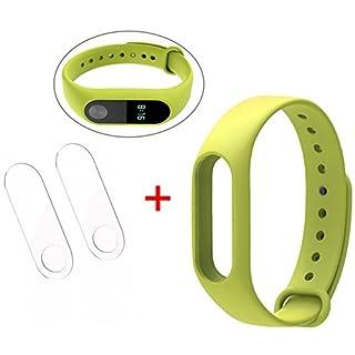 ANGGO Original Xiaomi Mi Band 2 Ersatzarmband Silikon Ersatz Armband Bracelet Ersatzband, with 2 Pcs Set for Xiaomi Mi Band 2 Ultrathin Anti-Explosion Screen Protector Film (Fruchtgrün)