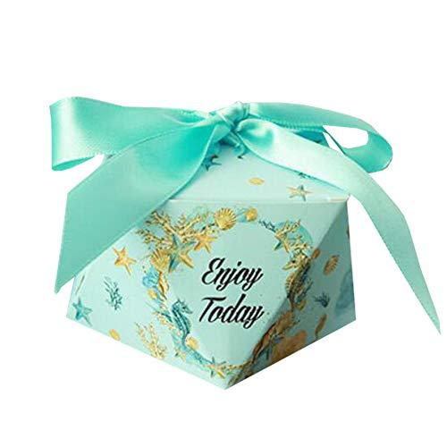 Chinashow 50 Stück Dekorative Festlichkeits-Kasten-Hochzeitsfest-Bevorzugungs-Kasten-Süßigkeits-Taschen-Schokoladen-Geschenkboxen Genieße den Tag