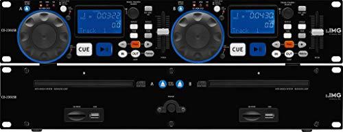 IMG Stageline CD-230USB DJ Dual-CD und MP3-Spieler mit USB 2.0-Schnittstelle, Cinch-Anschlüsse und SD/MMC Card-Slot, in Schwarz -