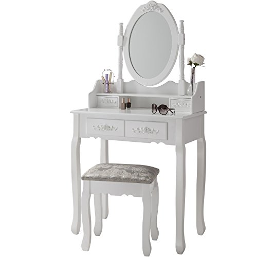 Vienna dr006 white dressing table stool mirror set 5 for Cheap dressing table with mirror