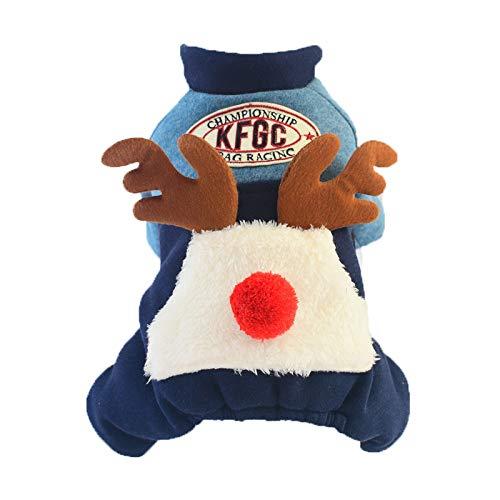 Hunde Lamm Kostüm - OVCK PET CARE Hund Kostüm Teddy Bomei Vierbeiniges Lamm Weihnachten Halloween Cotton Dog Kleider Warm/Blau / 2XL