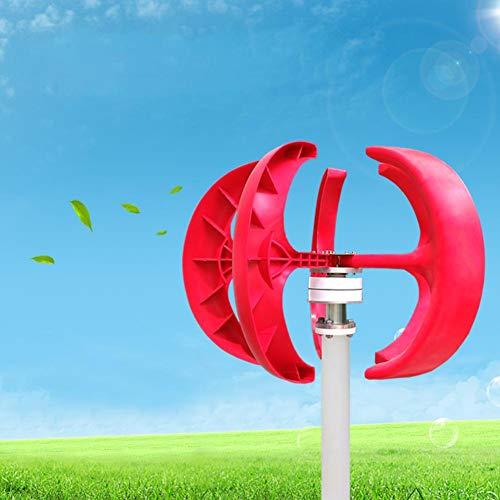 Zoternen 600W Generatore Eolico, 12V Wind Turbine Impianto eolic, turbina con 5 Pale rotore, Verticale, Axis con Controller, per Basso Vento Domestica Pale Eoliche(Rossa)