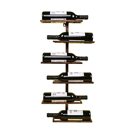 GWM Weinregal zur Wandmontage, Vintage Metallflaschenhalter Wandmontage | Wand Weinregal Lagerung | Industriedesign (6 Flaschen für Halter) (Farbe : Bronze)