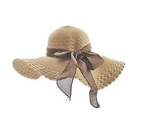 Aolevia Un Grand Chapeau de Soleil Avec Un Noeud Papillon à Large Bord Couleur Pur Pour Été Taille Unique-Brun