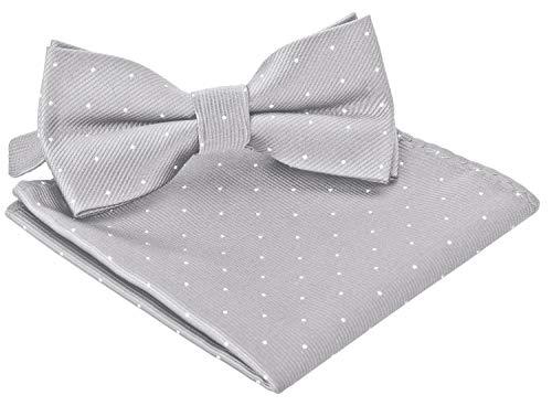 BomGuard Fliege für Herren silber I Männer Fliege für Hochzeit, Party oder edele Anlässe I Trendy Bow Tie I