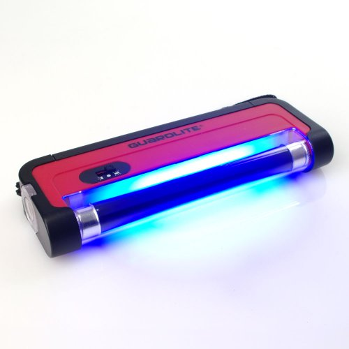 Preisvergleich Produktbild UV Handlampe Guardlite 1 Schwarzlicht Röhre 365nm mit Trageschlaufe und Taschenlampe (ohne Batterien: 4x AA) - für UV Stempelfarbe, UV Leuchtfarbe, Schwarzlichtfarbe, Geldprüfgerät, Einlasskontrolle Diskotheken und Events, Banknoten, Hygienekontrolle (Urin), Fluoreszenz (langwellig) bei Mineralien und Fossilien, Briefmarken, Ausweise, Führerscheine, Passkontrolle, Dokumente mit UV Markierungen