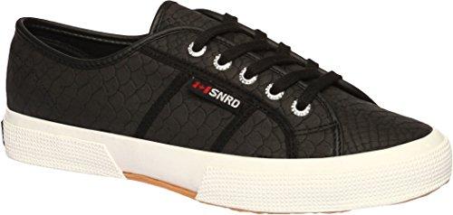 SNRD - 121 Unisexe Motif peau de serpent Baskets à lacets classique Noir - noir