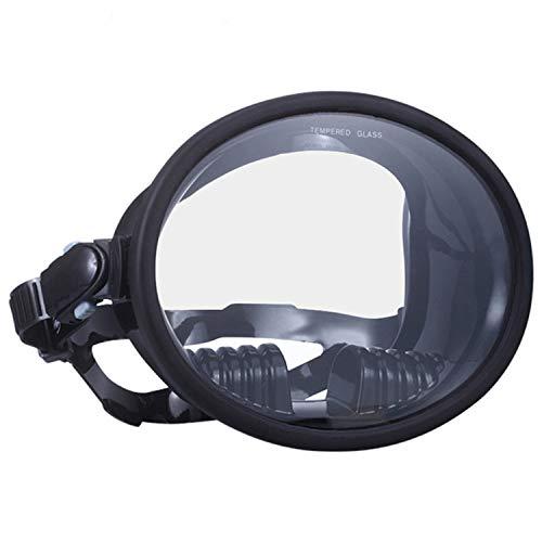 YUNDING Verres de plongée Ronds de Grand Champ, Masque de Tuba rétro/Miroir trempé, Convenant aux Adultes Black