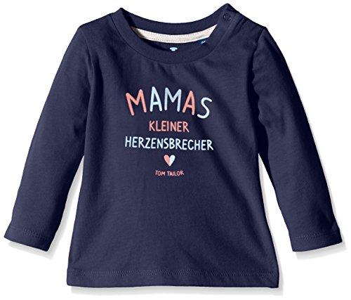 TOM TAILOR Kids Baby - Jungen Langarmshirts peached slogan t-shirt/512, Gr. 86, Blau (true dark blue 6811)