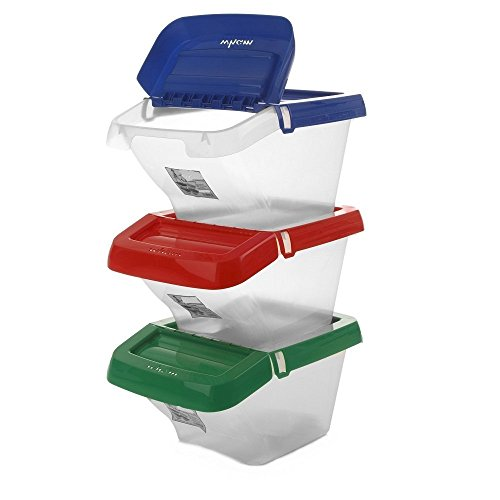 pack of 3 30 litre stackable recycling clear base colour coded plastic bins with hinged lids by whatmore by prime furnishing