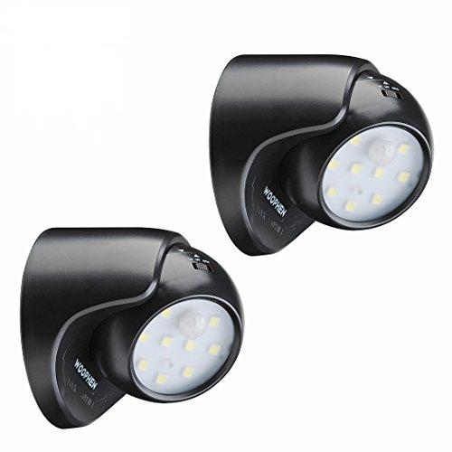 WOOPHEN Indoor/Outdoor Heller Funk-Bewegungsmelder LED Vorbauleuchte/Spotlight - Auto ON/OFF, Batteriebetrieb (Schwarz2)