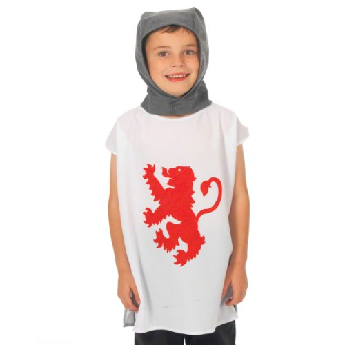 Kinderkostüm Wappenhemd Ritter, Einheitsgröße (3-8 Jahre), weiß