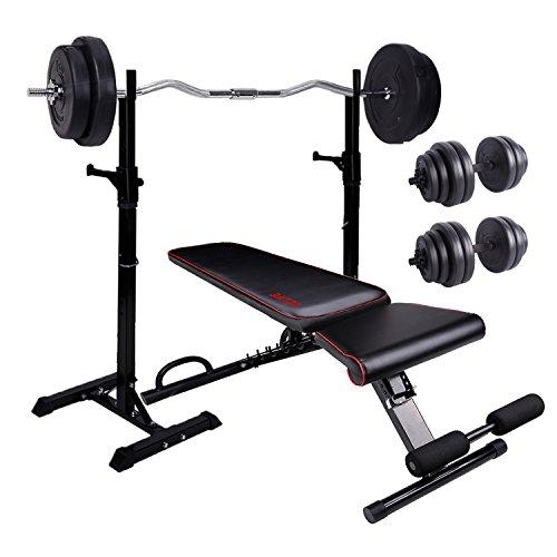 CCLIFE Hantelbank Trainingsbank mit Hantelablage Hantelset 60 kg Bankdrücken Fitnessgerät...