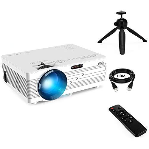 Merisny Mini Projecteur LED 2400 Lumens Vidéo Projecteur Portable LCD Retroprojecteur 40000 Heures 1080P HDMI USB VGA AV SD PC Phone Home Cinéma Jeux Vidéo - Blanc