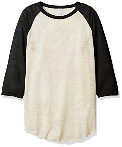 Men's Big League Burnout Baseball T-Shirt NATURAL/ BLACK XS (Burnout-raglan-t-shirt)