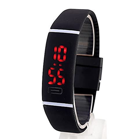 Hanyia Mens Women Rubber Date LED Watch Sports Digital Fashion Bracelet Wrist Watch