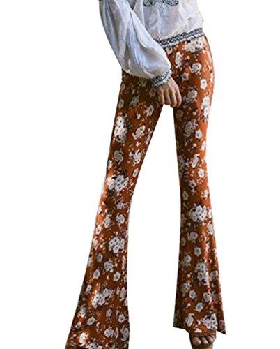 YOUJIA Vintage Pantalons Palazzo à haute taille évasés Leggings jambe large pour Femme Imprimé #6 café