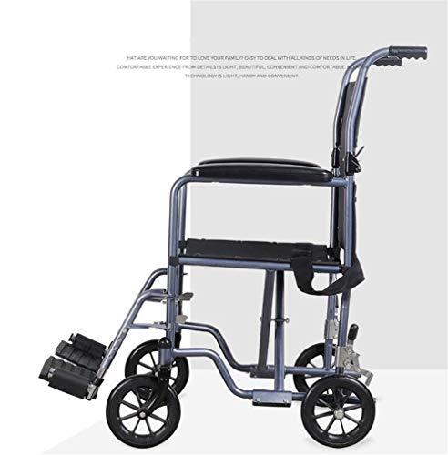 CSPFAIZA Rollstuhl Leichtgewicht Faltbar, Selbstfahrendes Radsystem, Abnehmbares Fußpedal und Sicherheitsgurt, Tragfähigkeit: 150kg, mit Armlehne und Tragbar Schwarz