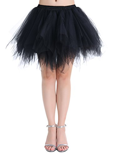 Petticoats Minirock Kurz Unterrock Tutu Unregelmäßig Tüll Damen Mädchen Ballettrock Multi-Schichten Schwarz L