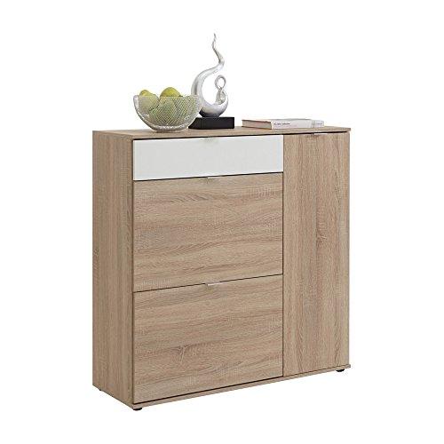 FMD Möbel 486-002 Mehrzweckkommode Holz, eiche / weiß, 108 x 37 x 108,5 cm