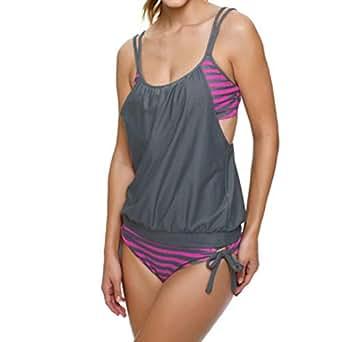Jaminy Tankini Spitze Damen Bikini Push Up Set, Frau Gestreiftes Spleißen Strap Bikini Bademode Badeschlinge Badeanzug (Grau, S)