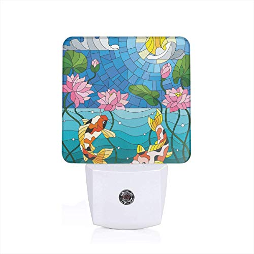 Stained Glass Fish (Stained Glass With Asian Details Mosaic Lotus Flowers Sun Fish Oriental Work Plug-in LED Night Light Lamp with Dusk to Dawn Sensor, Night Home Decor Bed Lamp)