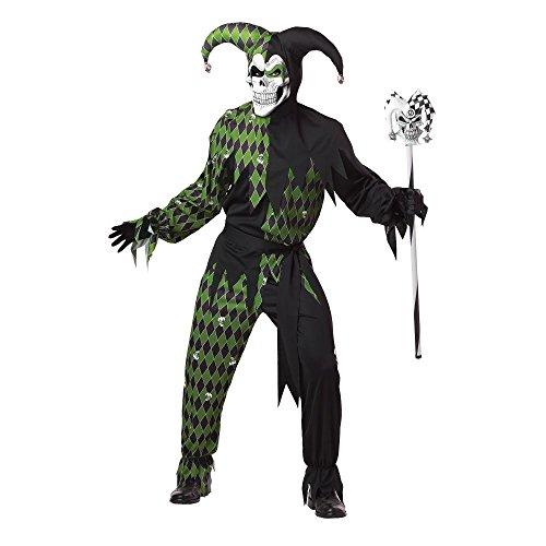 Generique - Teuflisches Harlekin-Kostüm für Herren in grün-schwarz XL