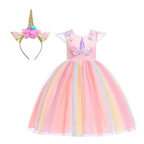 Einhorn Kleid Mädchen - Bemigo Mädchen Einhorn Kostüm Kleid Schick Prinzessin Outfit für Performance Festzug Karneval Cosplay Party 3-9Y