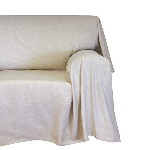 Cotton & color arredo foular copritutto, cotone, panna, 180x270x0.5 cm