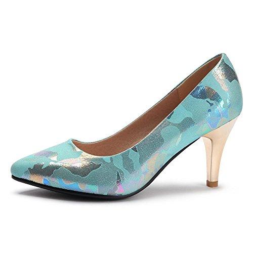 AllhqFashion Femme Matière Souple Tire Pointu à Talon Haut Couleurs Mélangées Chaussures Légeres Bleu