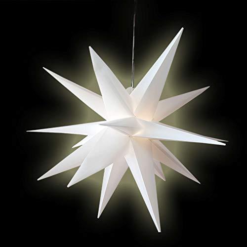 Stern Weihnachten weiß beleuchtet Ø 100cm mit 18 Zacken zum Aufhängen 7m Strom-Kabel mit LED-Birne außen