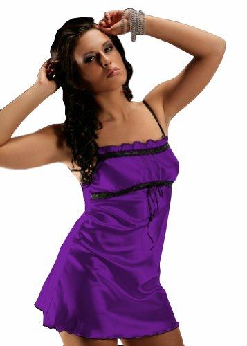Nine X - Edles Nachthemd / Négligée aus Satin 6 Farben S-5XL Purple