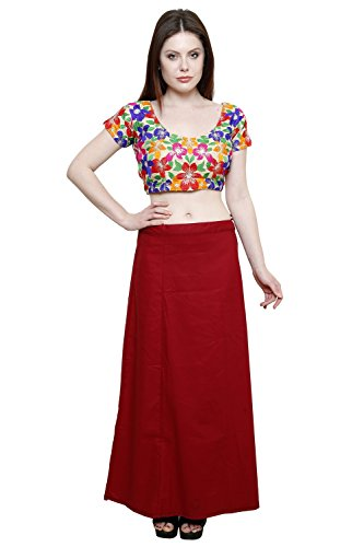 Pistaa Women's Cotton Deep Maroon Colour Readymade Solid Inskirt Saree petticoats