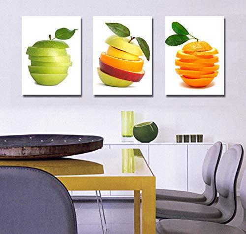 YEEHOR 3 Panel Leinwand Kunst Obst Moderne Wohnzimmer Dekoration stillleben Neue Gedruckt Spray malerei wandbilder für küche 30x50 cmx3 stücke Rahmenlose -
