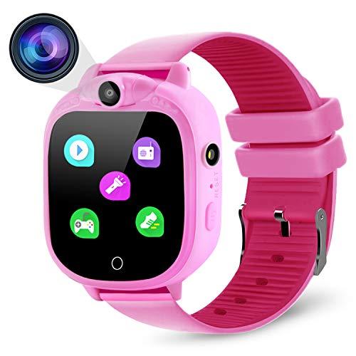 Prograce Kids Smartwatch Digitalkamera Uhr mit Spielen, Musik-Player, Schrittzähler, Schrittzähler, FM-Radios, Taschenlampen und 3,8 cm Touch-LCD für Jungen Mädchen Geburtstag Rosa (Screen Kinder Jungen Touch Uhren)