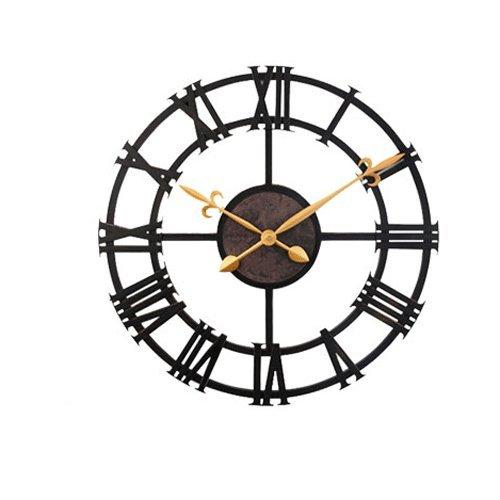 Vinteen orologio in metallo con numeri romani - nero orologio da muro in ferro 17 pollici imitazione ferro orologio americano in stile europeo retrò orologio da parete creativo soggiorno orologio da camera rotondo (43 cm di diametro)