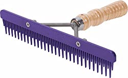 Weaver Leather Fluffer Comb with Wood Handle and Replaceable Purple Plastic Blade